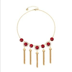 """Monet Red Stone & Gold Tassel 17"""" Cable Necklace"""